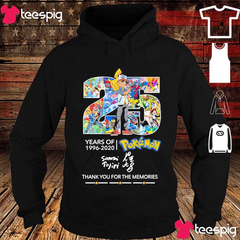 25 Years of 1996 2020 Pokemon thank You for the memories signature s hoodie