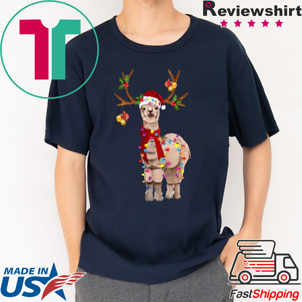Llama Reindeer Christmas Light shirt