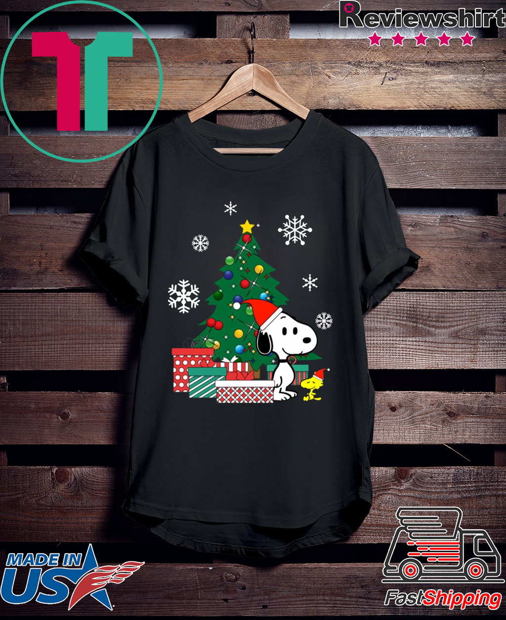 Snoopy and Woodstock around the Christmas tree shirt