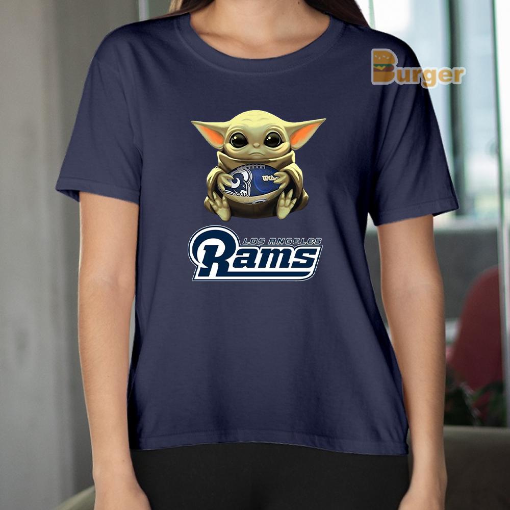 Baby Yoda Hug Los Angeles Rams Tee Shirt