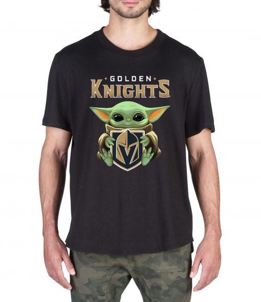l Baby Yoda hug Golden Knights ORIGINAL Tee Shirt