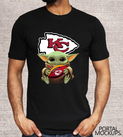 Star Wars Baby Yoda Hug Kansas City Chiefs Tee Shirt