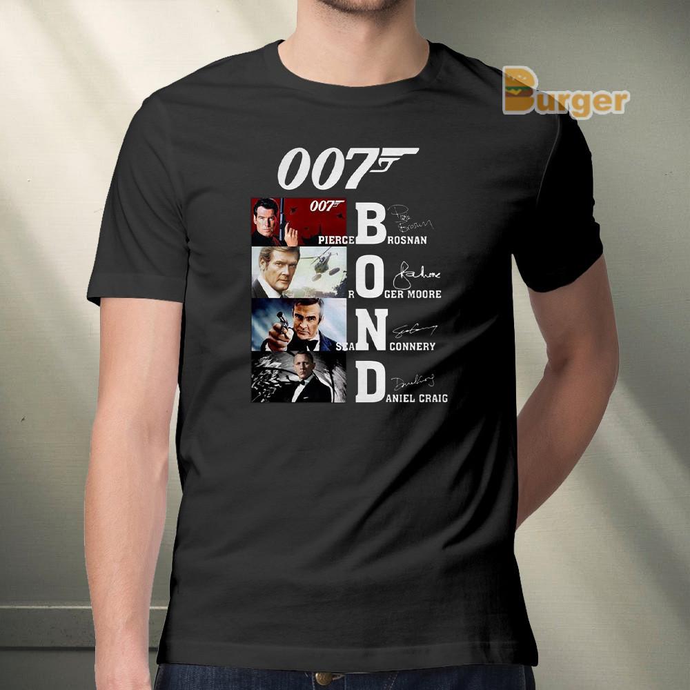 007 Pierce Brosnan Roger Moore Sean Connery Daniel Craig Signature Tee Shirt