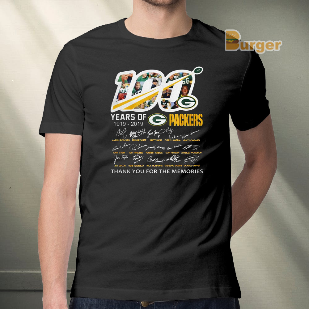 100 years of Green Bay Packers player signature thank you for the memories Tee Shirt