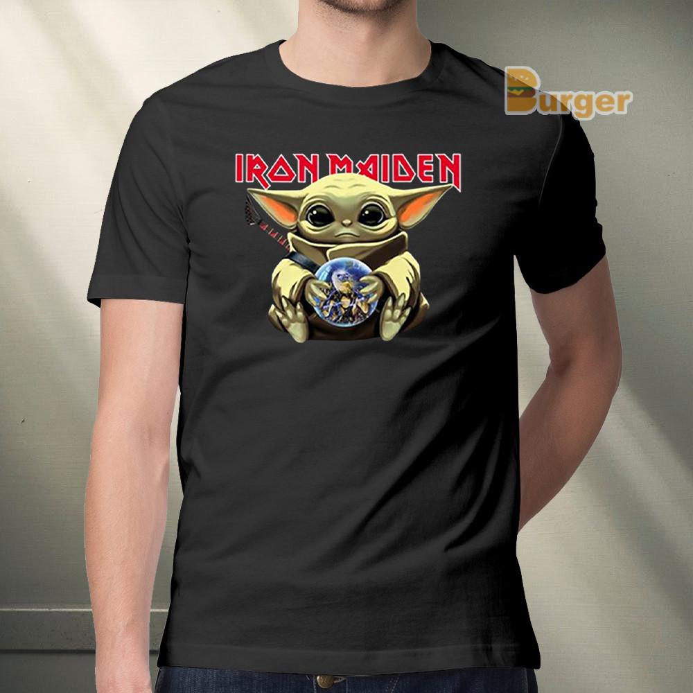 Baby Yoda Hug Iron Maiden Tee Shirt Iteepig