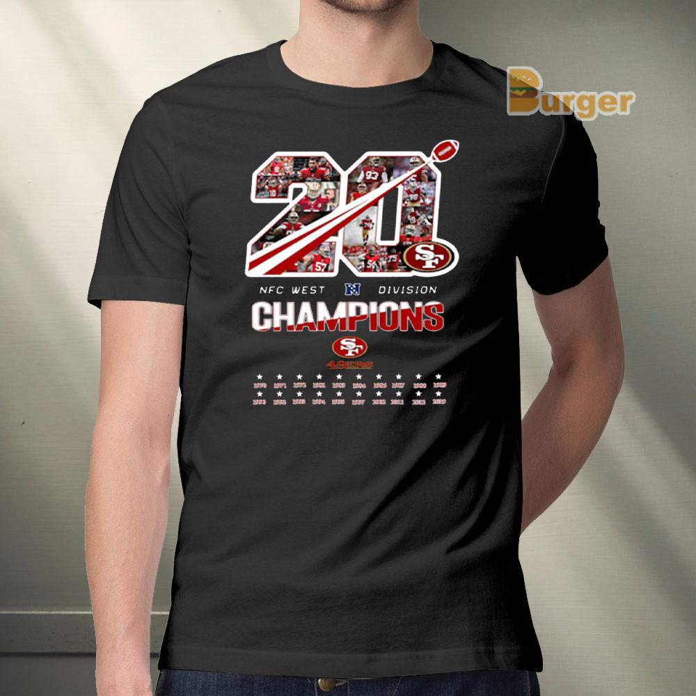 San Francisco 49ers 20 NFC West Division Champions T-Shirt Tee Shirt S-5XL