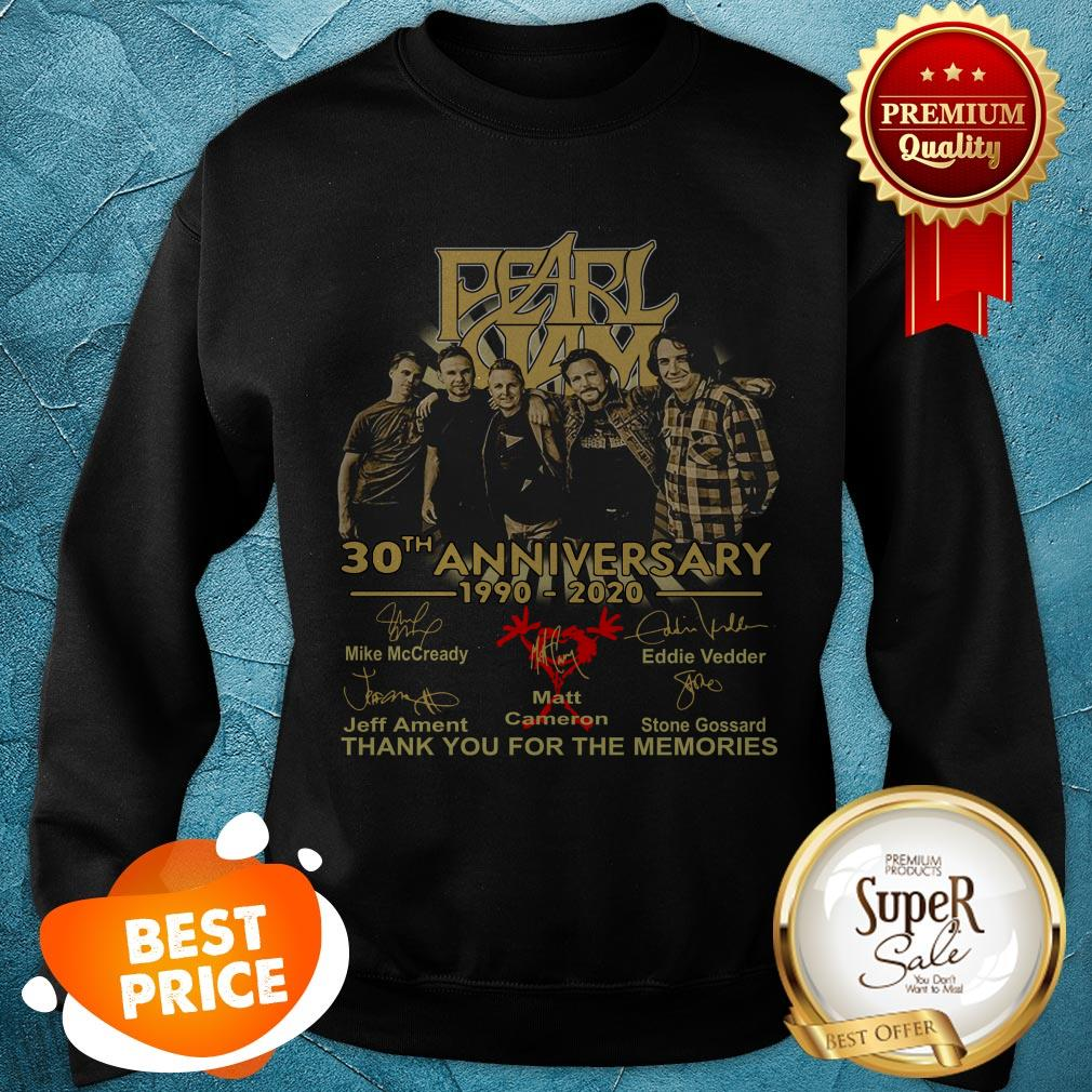 Pearl Jam 30th Anniversary 1990 2020 Signatures Thank You For The Memories Sweatshirt