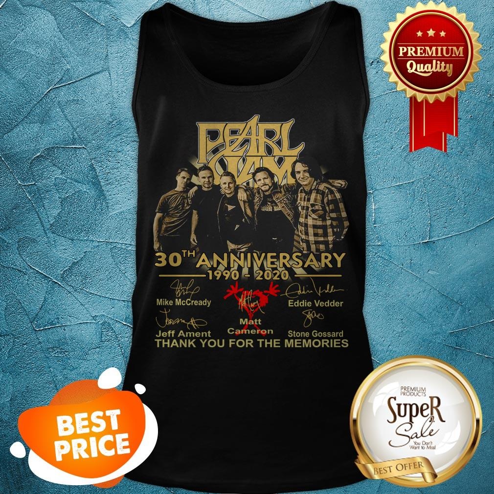 Pearl Jam 30th Anniversary 1990 2020 Signatures Thank You For The Memories Tank Top