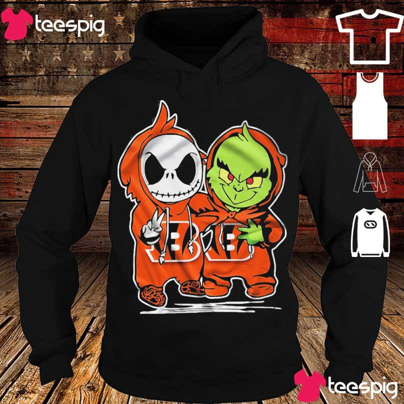 Baby Skeleton and Baby Grinch Bengals Baseball s hoodie