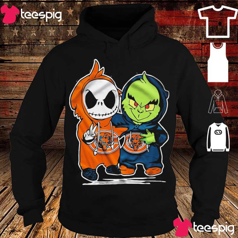 Baby Skeleton and Baby Grinch Chicago Bears s hoodie