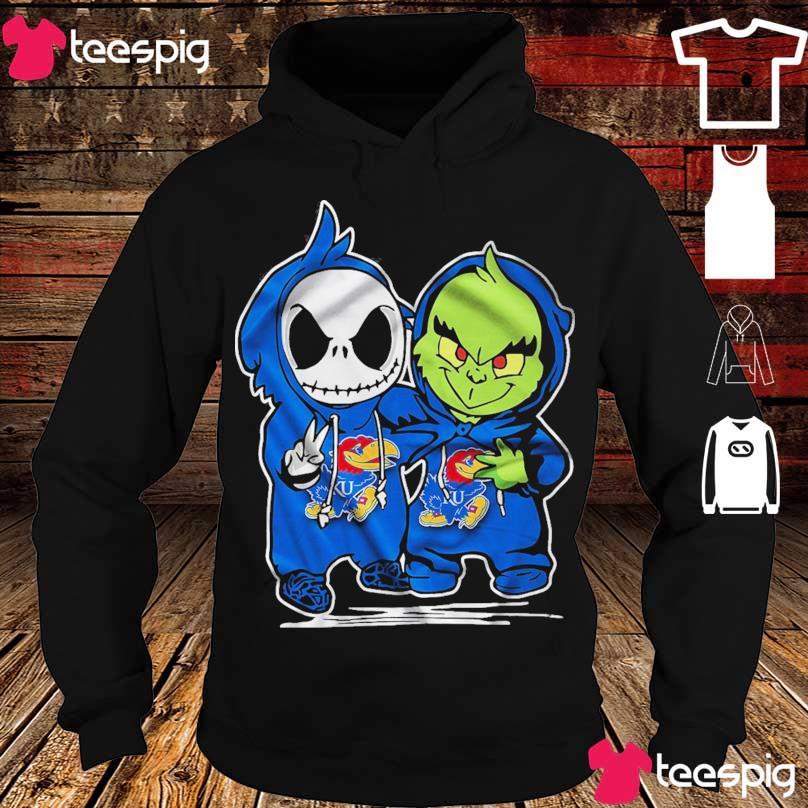 Baby Skeleton and Baby Grinch Kansas Jayhawk s hoodie