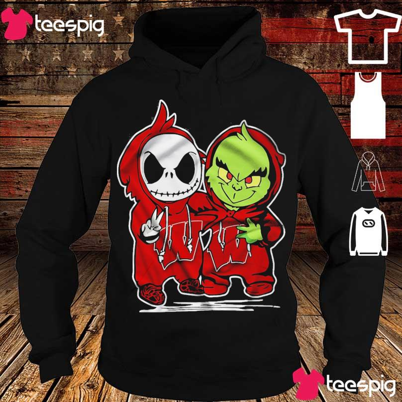 baby skeleton and Baby Grinch Wisconsin Badgers s hoodie