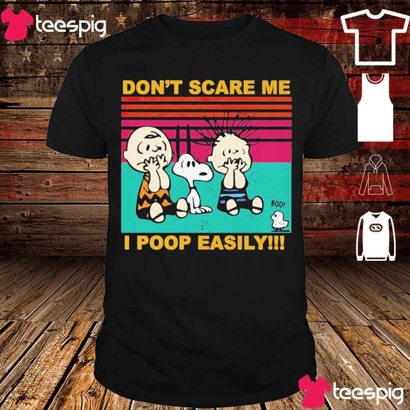 Charlie Brown Snoopy and friends don't scare me I poop easily vintage shirt