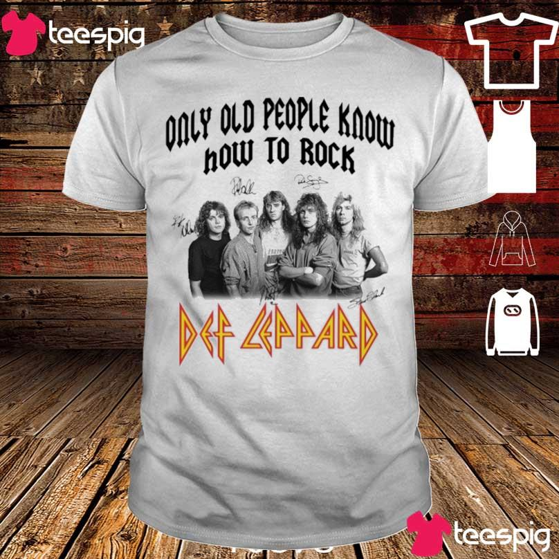 Only old people know how to rock Def Leppard signatures shirt