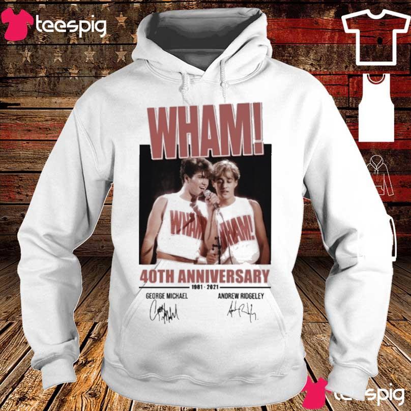 Wham 40TH Anniversary 1981 2021 George Michael Andrew Ridgeley signatures s hoodie