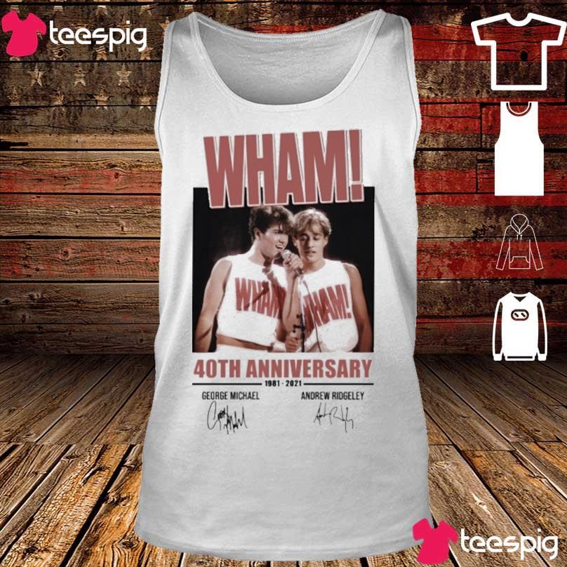 Wham 40TH Anniversary 1981 2021 George Michael Andrew Ridgeley signatures s tank top