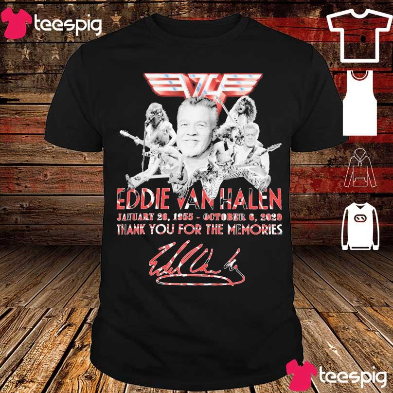 Official Eddie Van Halen January 26 1955 October 6 2020 thank you for the memories signature shirt