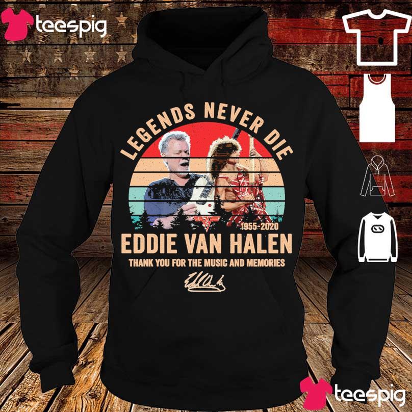 Official Legends never die Eddie Van Halen 1955 2020 vintage signature s hoodie